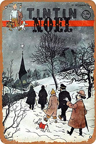 OSONA Tintin Noel Retro nostálgico arte tradicional color óxido logotipo de lata publicidad llamativa decoración de la pared regalo