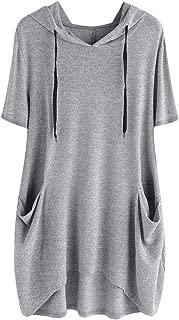 Xinantime Womens Casual Long Tunic Print Short Sleeves Side Pocket Hooded Irregular Top Blouse Shirts Tee
