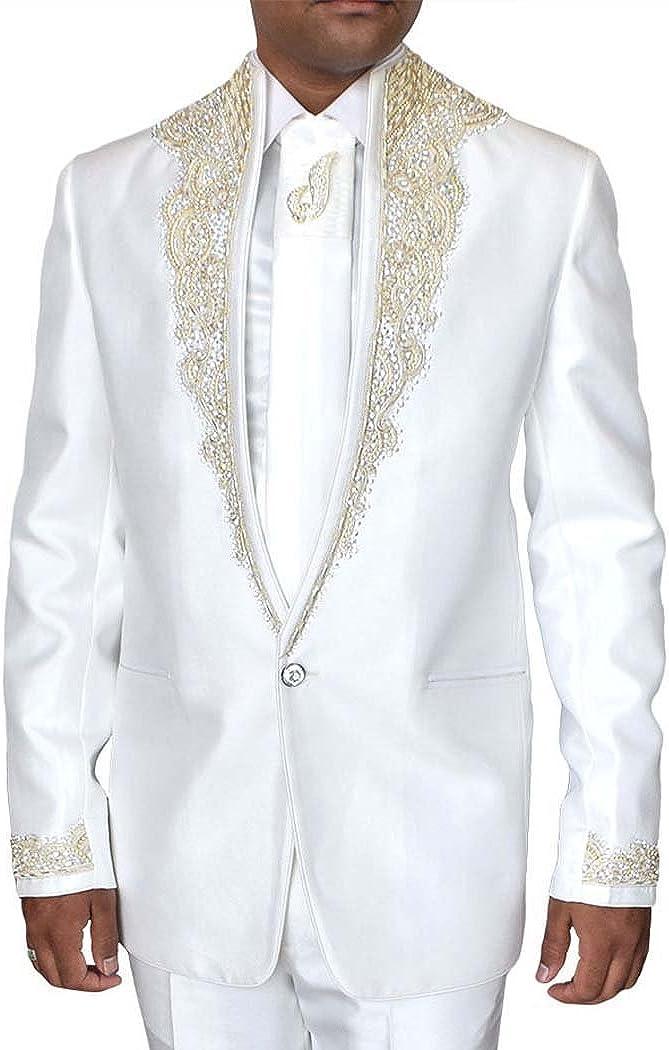 INMONARCH Mens White Tuxedo Suit Wedding One Button 5 pc TX0194