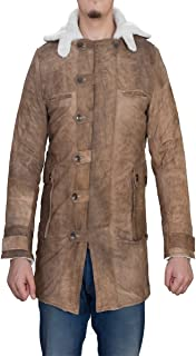 BNH Tom Hardy Distressed Real Leather Bane Shearling Trench Coat Jacket Deal of The Month