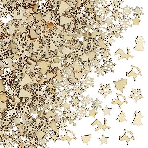 FHzytg 250 Stück Holzsterne Streudeko Weihnachten Holz, Schneeflocken Deko Sterne Holz Streuteile Weihnachten, Streuartikel Holz Weihnachten Deko Holzsterne Schneeflocken Mini