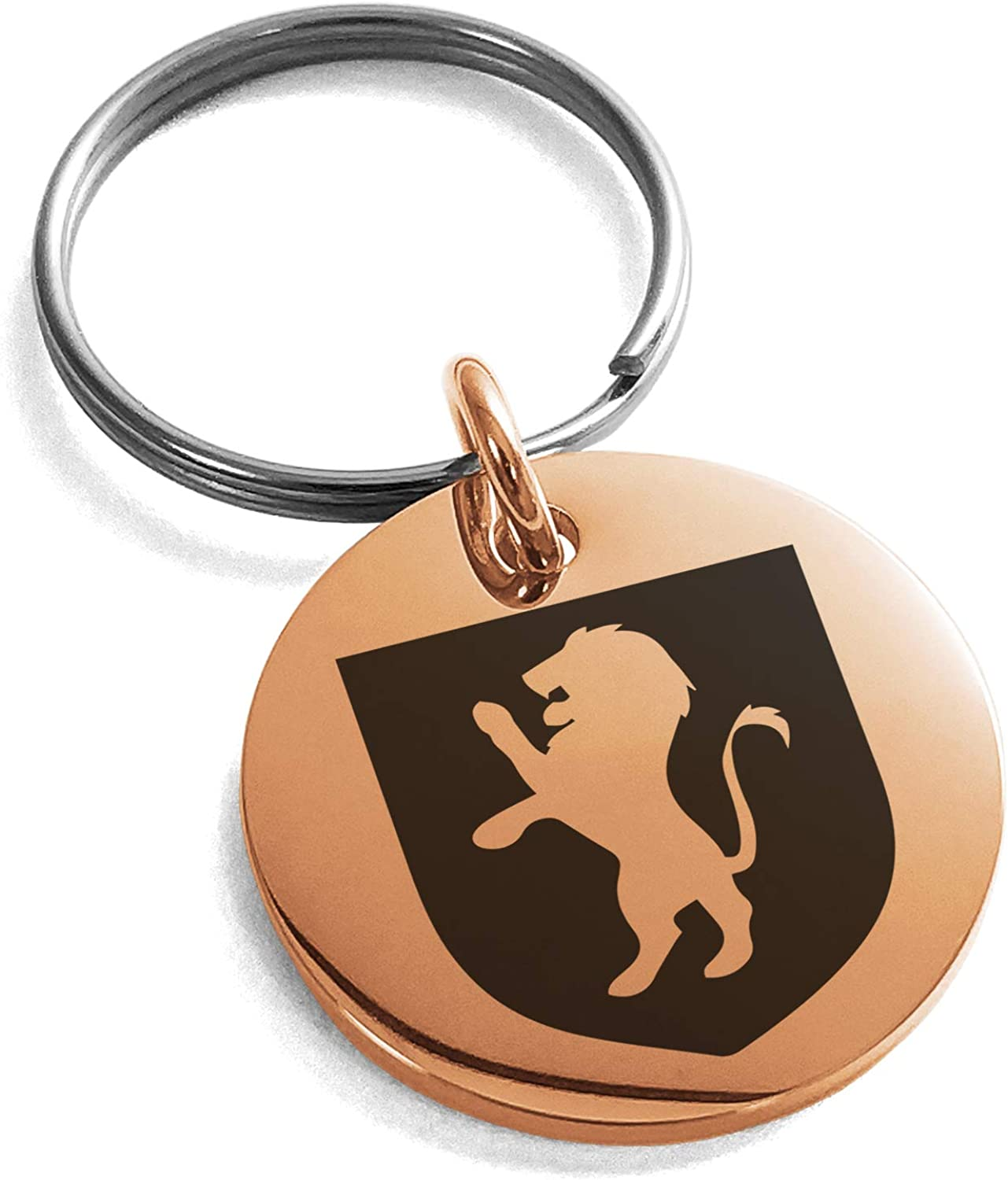 Stainless Steel Lion Courage Coat of Arms Shield Symbol Small Medallion Circle Charm Keychain Keyring