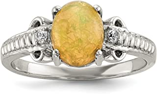Sterling Silver With Ethiopian Opal and White Quartz Polished Ring - Ring Size Options Range: L to P