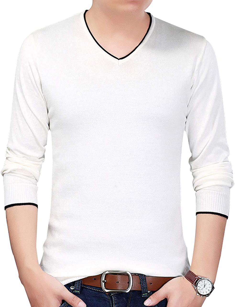 chouyatou Men's Essential V-Neck Slim-Fit Piping Knitted Pullover Layer Sweater