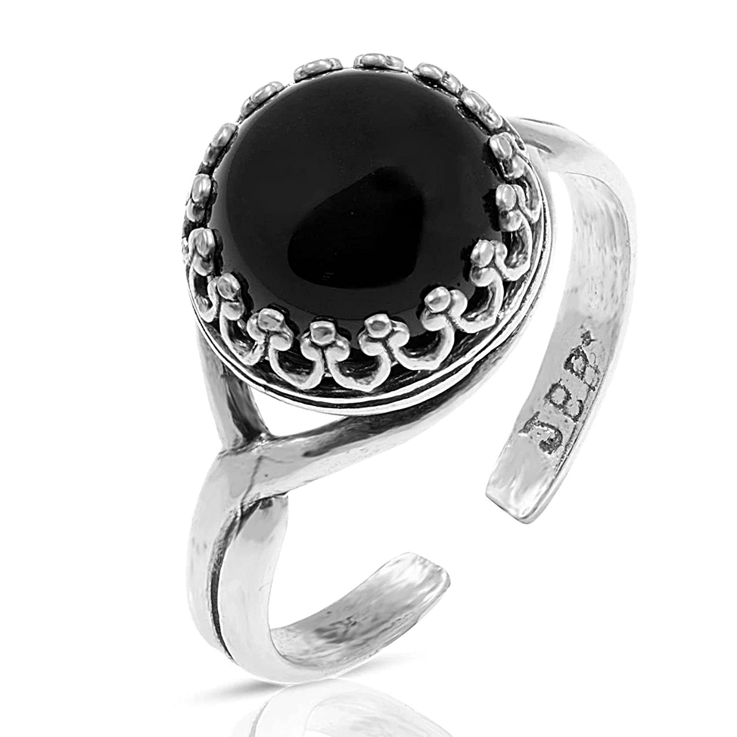 925 Sterling Silver Natural Onyx Ring Leo Style Fresno Mall Popular brand in the world - Vintage Decemb