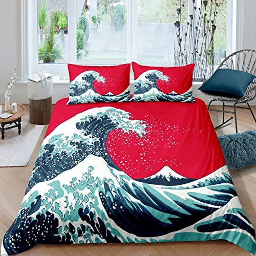 Funda de edredón japonesa Ukiyoe juego de cama con patrón Hokusai para niños y niñas, adolescentes, mar, océano, asiático, oriental, funda de edredón con 2 fundas de almohada