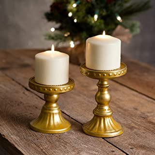 Set of 2 Metal Sommerset Gold Pillar Candle Holders, Elegant Decor Accents Centerpieces, Candlestick Holders Stand Centerpiece Decoration Ideal for Reception Candlelight Dinner Ornaments and Party Wed