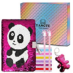 Image of Sequin Journal Girls Secret Diary with Lock Pink Lockable Notebook and Pens Writing Stationery Set with Sequin Keychain for Girls Kids Birthday Christmas - Panda: Bestviewsreviews