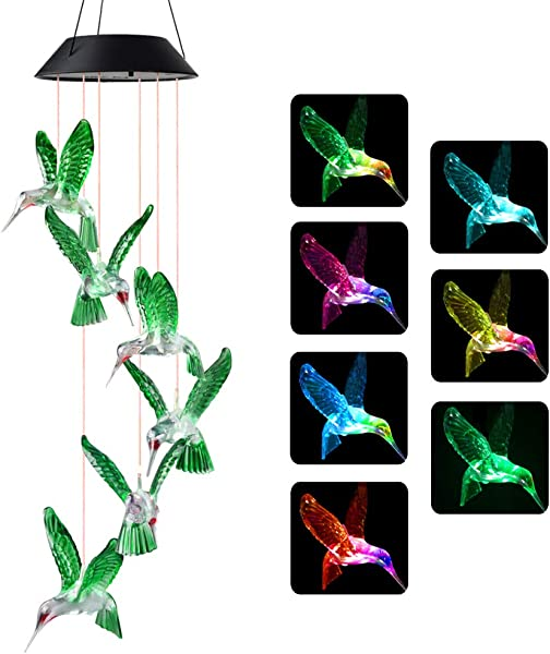 Wind Chimes Hummingbird Wind Chimes Outdoor Solar Wind Chimes Gifts For Mom Birthday Gifts For Women