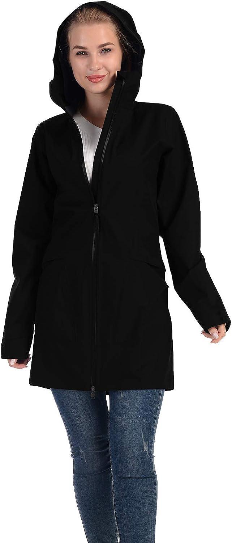 Womens Rain Coats Jacket with Hood Waterproof Lightweight Ladies Outdoor Long Trench Poncho