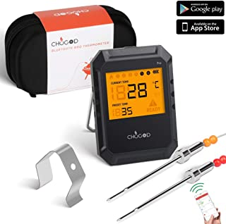 Bluetooth Meat Thermometer, For Grilling Wireless Remote Digital Cooking Thermometer With APP Smart Alarm Grill Thermometer for Kitchen Food Candy BBQ, Carrying Case (Comes with 2 Probes)