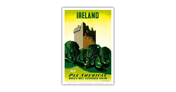 Ireland Pan American Airlines Irish Castle - Vintage Airline Travel Poster by Edward McKnight Kauffer c.1953 Master Art Print 12in x 18in PAA