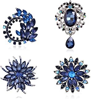 4Pcs Brooch Lot with Large Big Size Rhinestone Crystal Fashion Jewelry