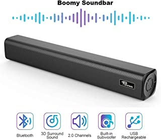 Punnkk Boomy Soundbar, 3.5mm AUX Input and Wireless Bluetooth for PC, Tablet, Cellphone, Projector