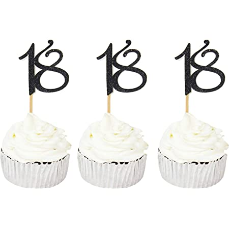 Amazon Com Bundle Of Fun Happy 18th Birthday Cupcake Toppers Pics 24 Piece Toys Games