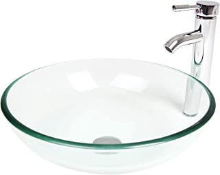 Elecwish,Bathroom Tempered Glass Clear Bowl, Vessel Sink, Countertop Round Basin, Chrome Faucet, 1/2