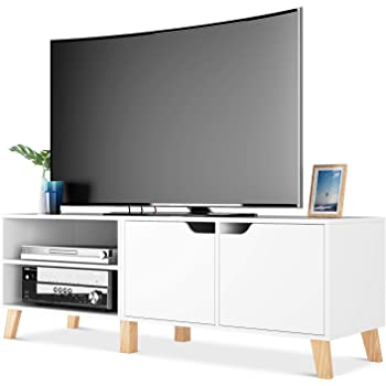 Homfa Mueble TV Salón Mesa para TV con 2 Puertas 2 Compartimientos ...