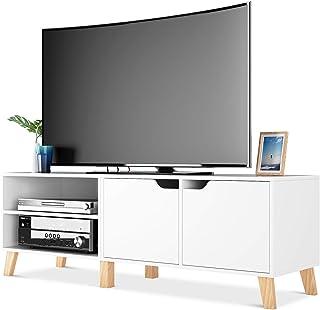 comprar comparacion Homfa Mueble TV Salón Mesa para TV con 2 Puertas 2 Compartimientos Blanco 140x40x48cm