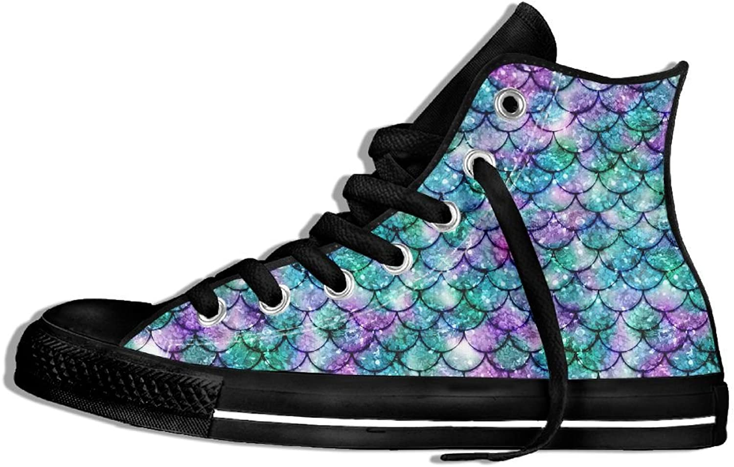 Womens Hi-Top Canvas Sneakers Mermaid Scales Pattern Lace Up Anti Skid Walking Trainers shoes