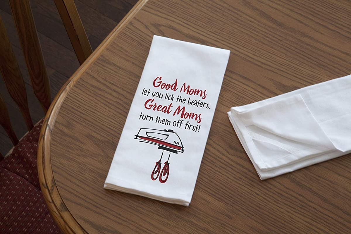 Imagine Design Relatively Funny Good Moms Heavy Weight 100 Cotton Kitchen Towel Red Black White