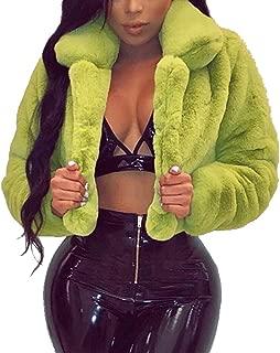 Women Coat Fashion Women Coat Fluffy Fleece Turn-Down Collar Faux Fur Top Short Loose Coat