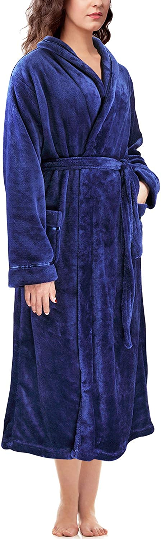 Catalonia Women's Hooded Long Robe Fluffy Plush Fleece Bathrobe Super Soft