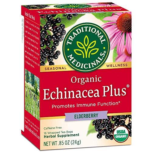 Traditional Medicinals, Seasonal Wellness, Organic, Echinacea Plus, Elderberry, 16 Tea Bags, Net wt. 0.85 Oz