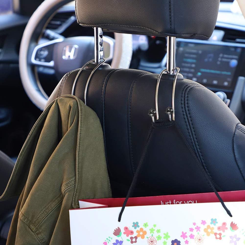veh/ículo paquete de 2 unidades organizador de reposacabezas de asiento negro para almacenamiento universal para SUV cami/ón SAVORI Ganchos de auto para coche ganchos fuertes y duraderos