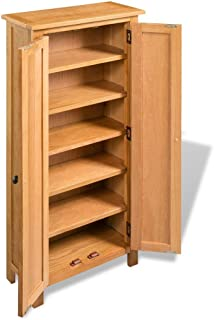 Tidyard Storage Cabinet with 6 Storage Shelves Solid Oak for Storing CDs, DVDs and Books 19.7inch x 8.7inch x 48inch (W x D x H)