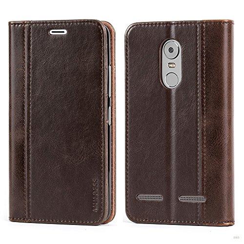 Mulbess Handyhülle für Lenovo K6 Hülle Leder, Lenovo K6 Handy Hüllen, mit BookStyle Flip Handytasche Schutzhülle für Lenovo K6 Case, Kaffee Braun