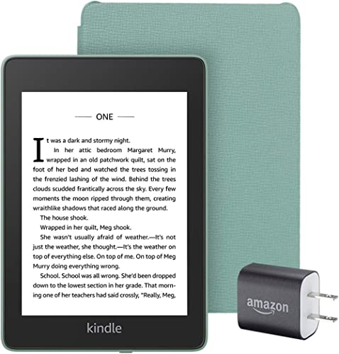 Kindle Paperwhite Essentials Bundle including Kindle Paperwhite - Wifi, Ad-Supported, Amazon Leather Cover, and Power...