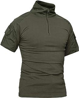 LiliChan Camisas Tácticas de Manga Corta para Hombres Camisa Militar Camisa para Exteriores Camisa de Combate Táctica con ...