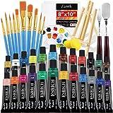 42Acrylfarbe Set- 24Farbpigmente, 10 Pinsel, 1Holz Easel, 2Schwämme, 2 Kunstmesser, 2Lackierbretter, 1Pigment Tray.Geeignet für Künstler und Anfänger