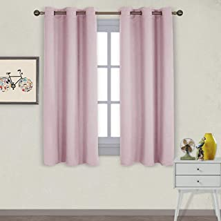 NICETOWN Nursery Essential Thermal Insulated Solid Grommet Top Blackout Curtains/Drapes (1 Pair,42 x 63 inches in Baby Pink)