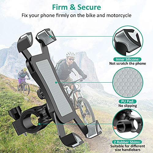 Bike Phone Mount, TEUMI Anti-Shake Bicycle Motorcycle Phone Holder 360° Rotation Universal Cradle Clamp Compatible with iPhone 11/11 Pro Max/XR/X/8/7, Samsung Galaxy Note 10 Plus/S20/S20 Ultra/S10