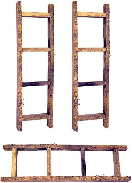 OBI Small Wooden Decorative Ladder Set Of 3 Farmhouse Country Primitive Rustic Craft Decor