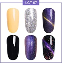 LILYCUTE 5ml Glitter Color Changing Nail Gel Polish Cat Eye Magnetic Soak Off Gel Polish Thermal Chameleon Multi-effects Nail Art Manicure Gel 6 Colors Set LCT-07