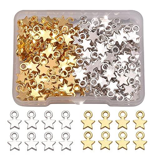 160 Piezas Colgante Estrella de Metal, Mini Encantos de Estrellas, Colgantes de Estrellas, Accesorios de Joyeria Plana de Aleación de Zinc para Manualidades, Joyería Haciendo(Plata, Oro)