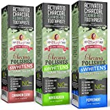 My Magic Mud - Activated Charcoal Toothpaste Variety Pack, Natural, Whitening, Detoxifying, 4 oz, Peppermint, Wintergreen, Cinnamon Clove, (3-Pack)
