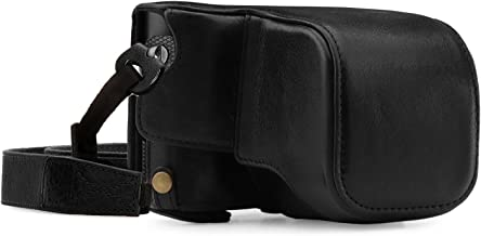 Megagear MG1402 Leica Q-P, Q (Typ 116) Ever Ready Genuine Leather Camera Case and Strap, with Battery Access, Black