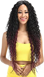 Joedir Lace Front Wigs Ombre Blonde 28'' Long Small Curly Wavy Synthetic Wigs For Black Women 130% Density Wigs(Ombre Red Color)