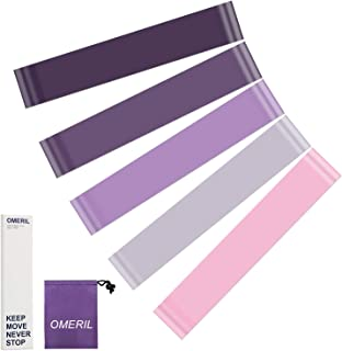 OMERIL Resistance Loop Bands, 5 Packs Latex Workout Bands with 5 Resistance Levels, Skin-Friendly Exercise Bands with Carry Pouch for Home Workout, Strength Training, Physical Therapy, Yoga, Pilates