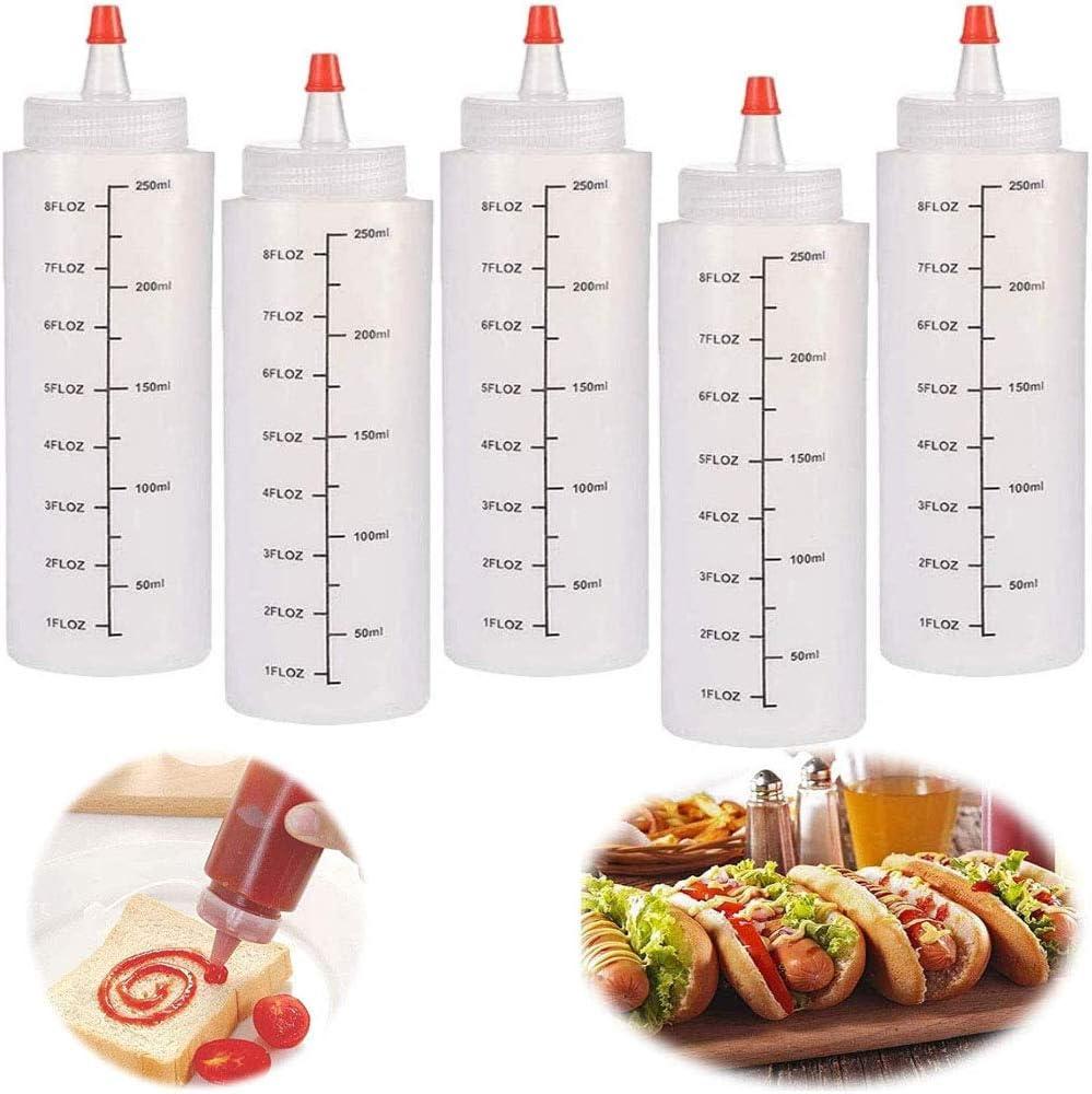 5pcs Botella de Salsa Botellas de plástico,250ml Condimento Botellas,Squeeze Bottle con Tapa De Punta a Prueba De Fugas y Medidas,para Condimento Ketchup Jarabe Mostaza Vinagre Aceite
