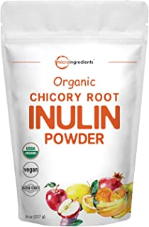 Organic Daily Prebiotic Dietary Fiber Supplement Powder, (Inulin Fiber from Chicory Root), 8 Ounce, Highly Promote Intestinal Colon, Gut Health and Digestive Function, Premium Inulin for Baking, Vegan