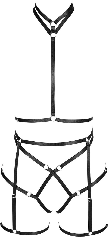 Garter belt set Full body harness for women Halloween Punk Gothic Plus size Festival Rave Chest strap Lingerie cage