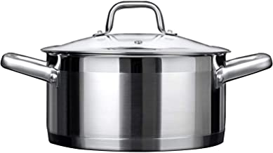 Duxtop Professional Stainless Steel Stock Pot with Glass Lid, Induction Cooking Pot, Impact-bonded Base Technology, 4.2 Qu...