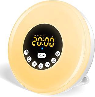 Luz Despertador, Wake Up Light con Simulación de Amanecer y Anochecer, Alarmas, 7 Luces de Colores, 12 Sonidos Naturales, Radio FM, USB Recargable Luz de Mesa de Nocturna LED para Familia