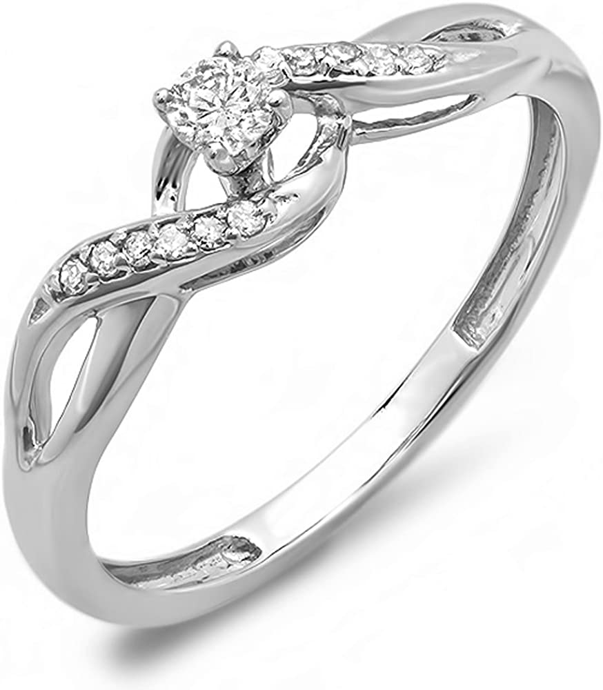 Dazzlingrock Collection 0.20 Carat (ctw) 10K Gold Round Diamond Crossover Swirl Ladies Engagement Ring
