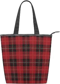 ISAOA Große Einkaufstasche aus Segeltuch, Retro, Schottenkaro, Rot