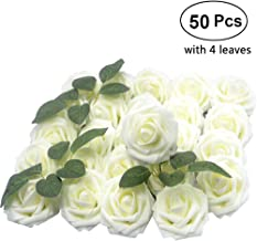 Lmeison Artificial Flower Rose 50pcs Ivory Real Looking Artificial Roses w/Stem for Bridal Wedding Bouquets Centerpieces Baby Shower DIY Party Home Decor, Ivory